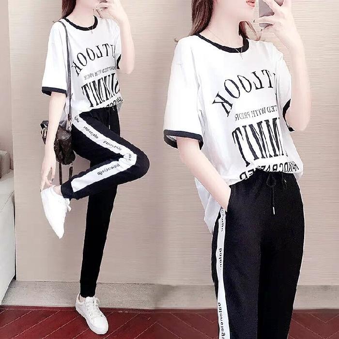 9COPz 2020 Sommer neue koreanische Art lose Kurzarm-T-Shirt mit Wide- breiten Beine der beiläufige Kleidung breiten Beinhosen Hosen zweiteiliger pri Anzug Frauen