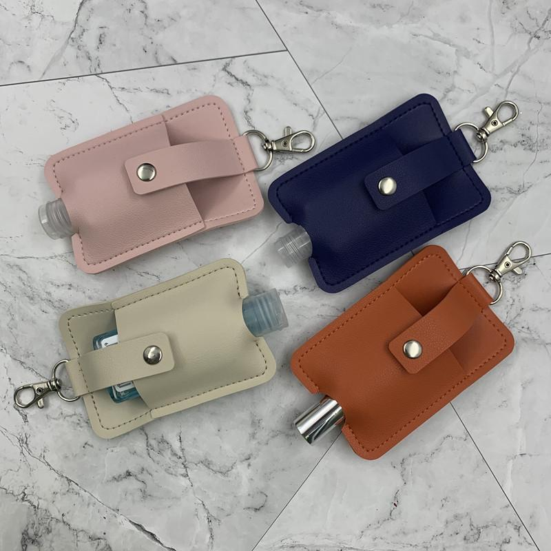 Fashion 2020 Leather Sanitizer Cover Keychain Sunflower Bottle Sleeve Hand Sanitizer Women Backpack Pendant Keychain Accessories