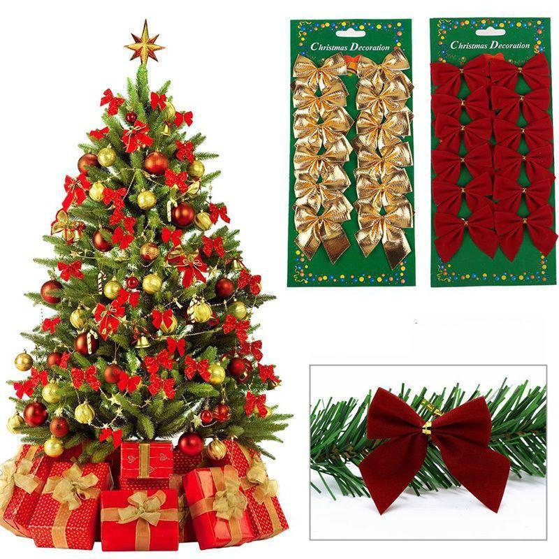 Bow 12 Tie Pcs/lot Ornaments Pretty Christmas Pendant Tree Decoration Baubles New Year Decorations for Home