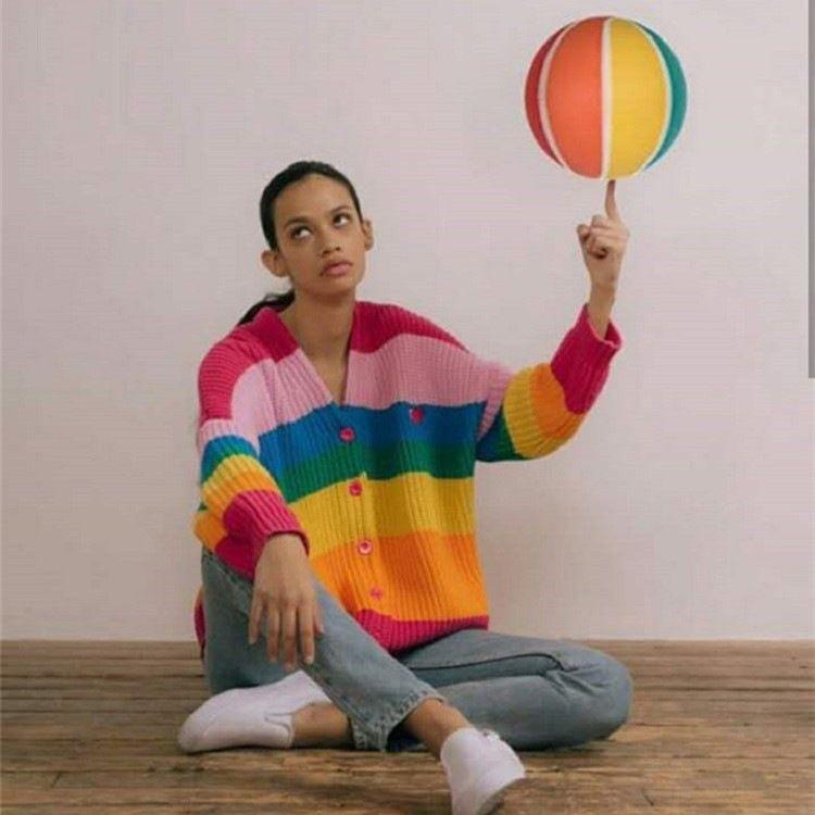 grande le maglione arcobaleno di lettera autunno e maglione di inverno delle donne del nuovo delle donne del cardigan abbigliamento Abbigliamento zgXOT