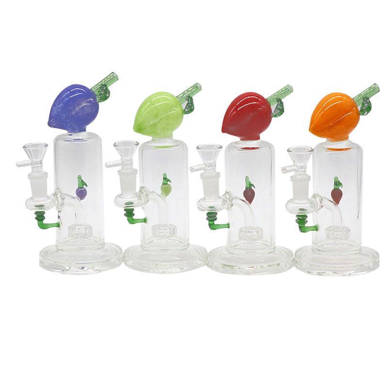 """6.8"""" coloridas forma fruta tubos de vidro bong reciclador plataformas petrolíferas filtro de cor tubo de água de vidro elemento reciclador tubo de vidro DAB rig"""