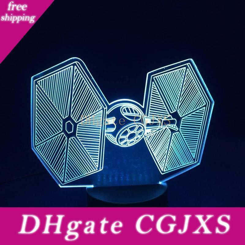 7 colora la 3D LED di notte della luce della novità Tie Fighter Usb tocco interruttore della lampada della Tabella creativa Jk0199a