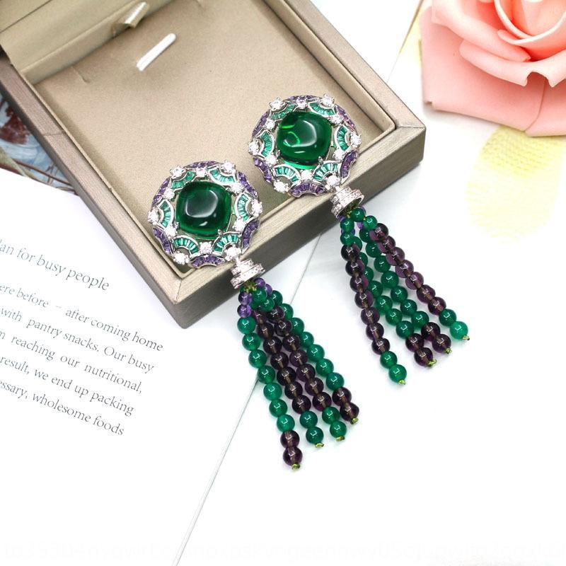 marca de moda y de gama alta elegante abuela pendientes de perlas de colores verdes con incrustaciones de micro bañados en oro pendientes mujeres de la borla