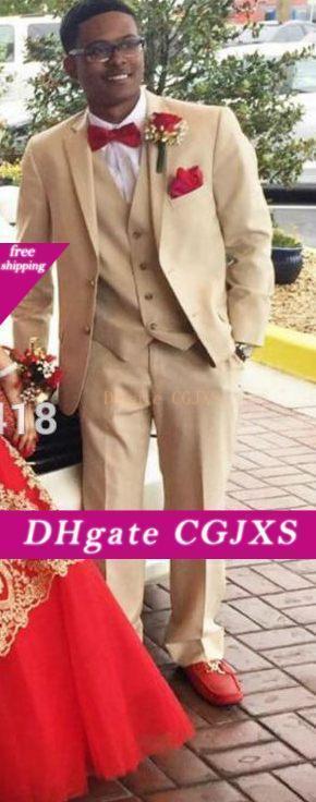 Жених Смокинги Groomsmen Две кнопки Beige Нотч Best Man костюм Wedding Men S Blazer костюмы выполненная на заказ (куртка брюки жилет галстук) P8