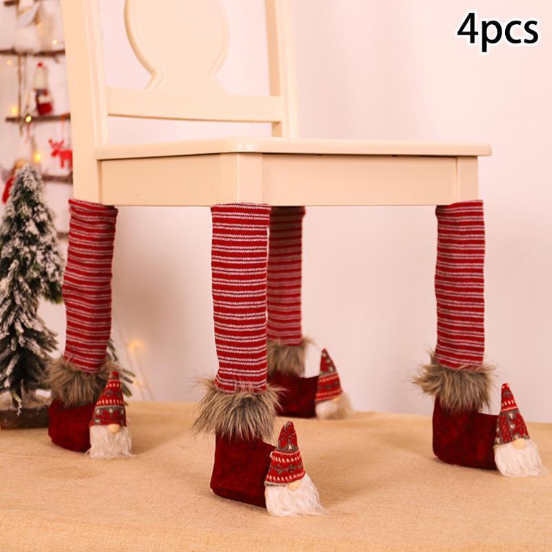 4Pcs Weihnachten Dining Hall Bar Tisch-Stuhl-Abdeckung Beindecken Weihnachtsdekoration Weihnachtsdekoration Partyangebot
