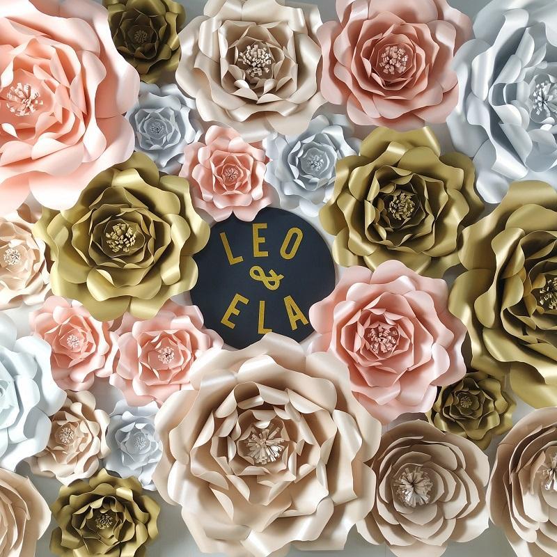 DIY Dev Kağıt Çiçekler Gül Düğün Flores Artificiales Fleur ARTIFICIELLE Parti Arka planında Dekor Bebek, Çocuk Doğum Ana