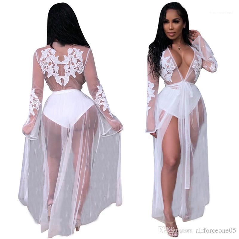 Kleid Panelled Verbandsmull lange Kleider mit tiefem V-Ausschnitt-Sommer-Kleider Damen Kleidung der Frauen reizvolle Spitze Perspektive
