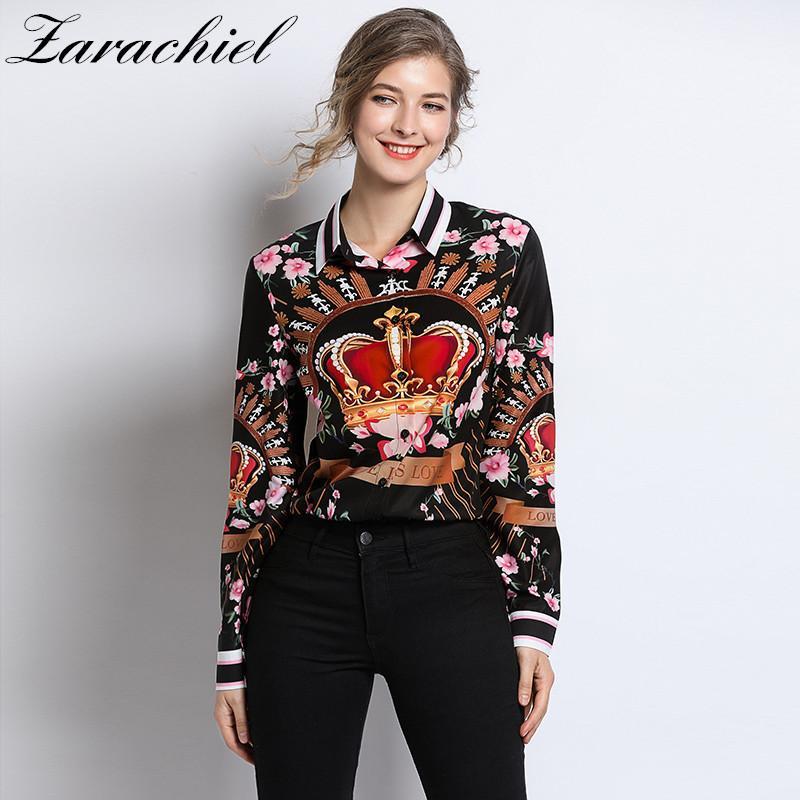 Pist Designer Plus boyut Bluzlar 2019 İlkbahar Yaz Bayan Long Sleeve Vintage şifon Çiçek Taç Baskı Gömlek Moda CX200821 Tops
