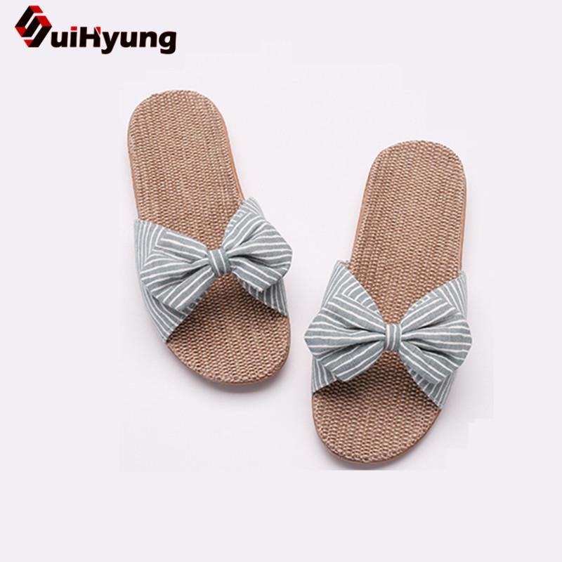 Suihyung Женщины Летние повседневные Слайды Удобные льняное Тапочки Полосатый Bow белье Вьетнамки Платформа Сандалии женские Крытый обувь