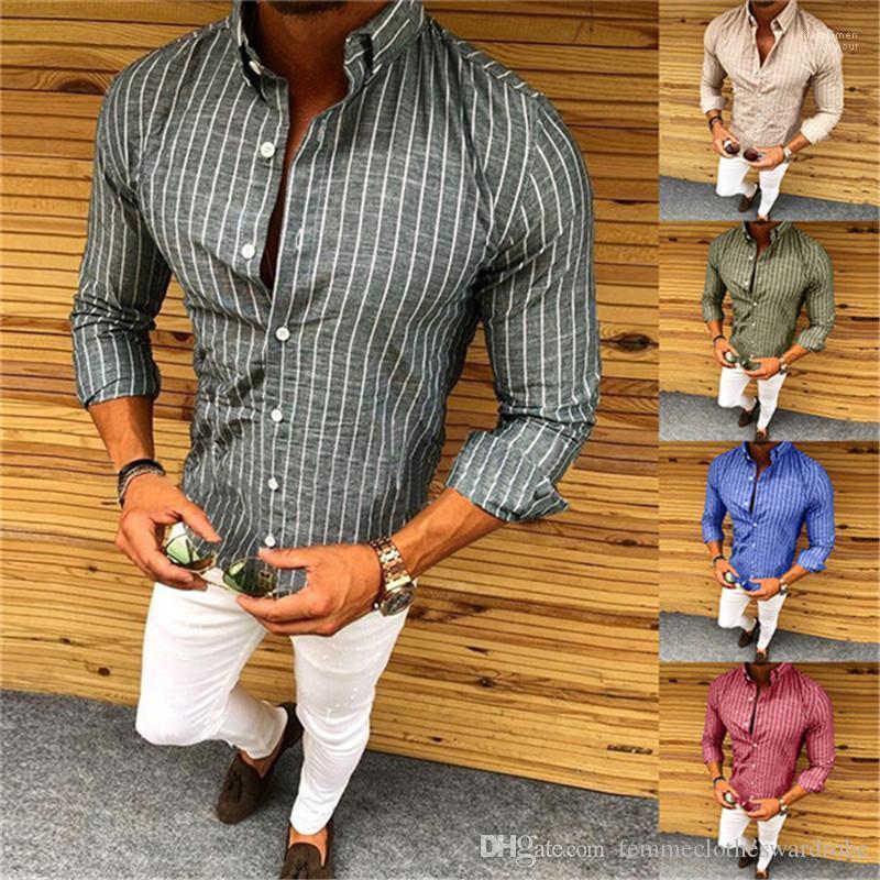 Stampato casuale campione Button Slim Lapel Neck Camicie Moda Uomo Camicie progettista del Mens Maglie a manica lunga a righe
