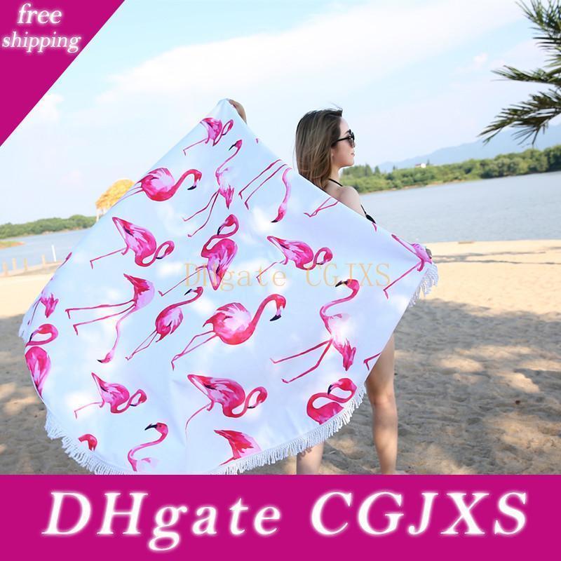 2018 neuestes Art-Mode-Flamingo Runde Strandtuch mit Quasten Mikrofaser 150cm Picknick-Decke Strand-Vertuschung