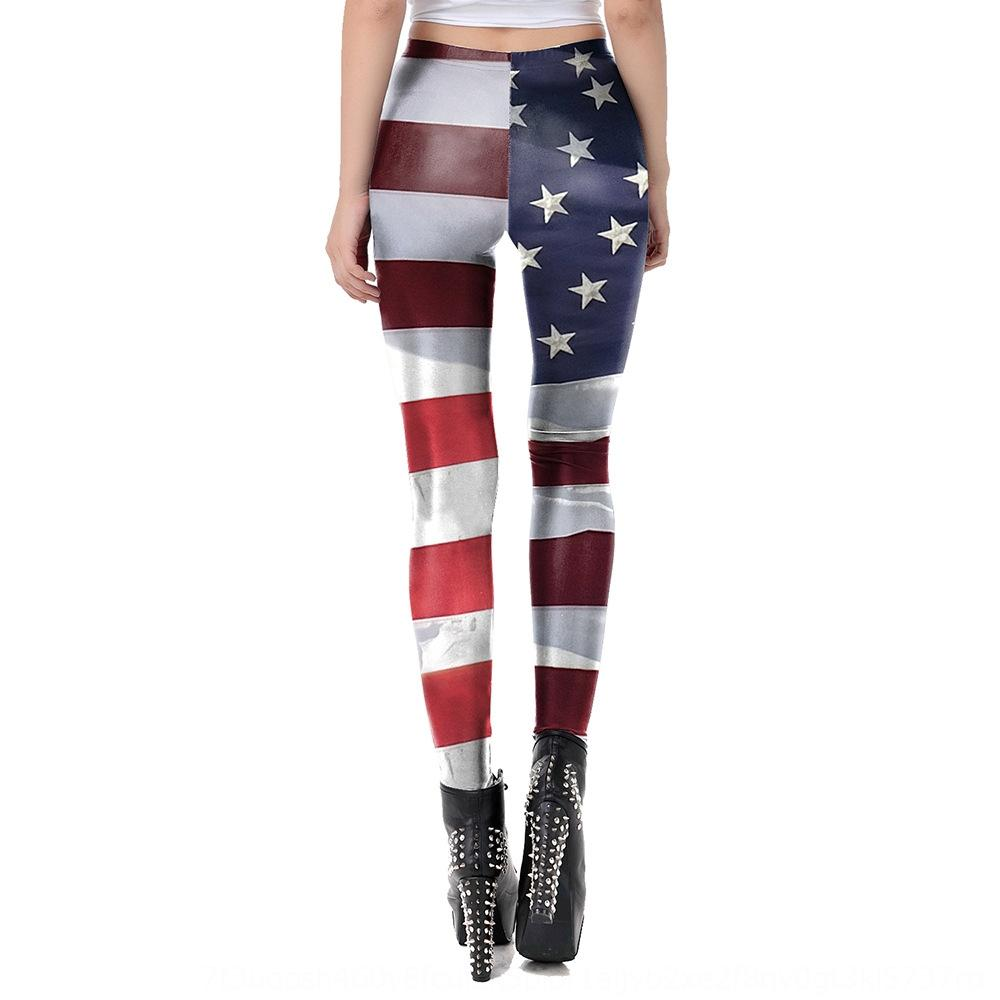 ZmwLf Spring and Summer new all-match leggings American national flag striped printed sports casual elastic tights KDK2054 tight pants Flag