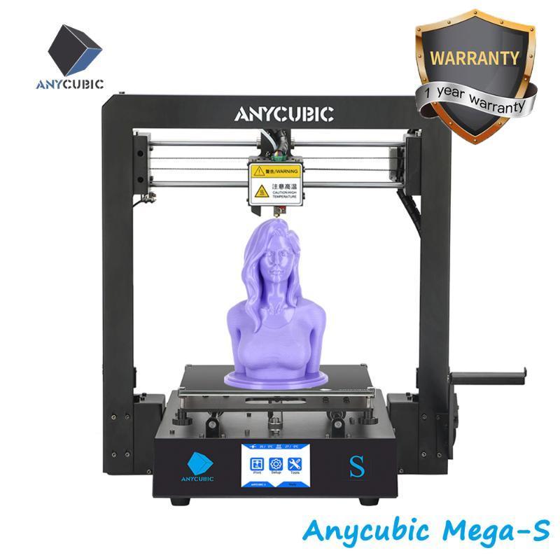 Принтеры Anycubic Mega S 3D-принтер I3 Обновить жесткую металлическую рамку Комплект Быстрый сборка Большой сборки Impresora Drucker