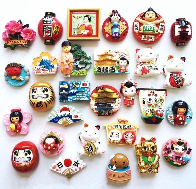 Kimono Doll Mount Fuji Landscape High Grade Resin 3D Fridge Magnets Japan Travel Souvenirs Refrigerator Magnetic Sticker 7tLO#