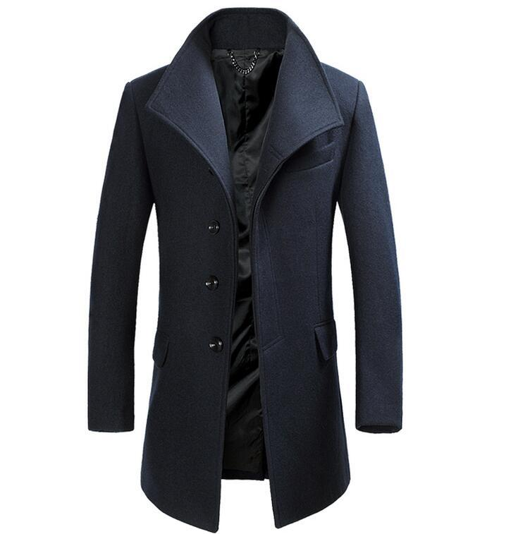 S-3XL CALDO Inverno Uomo nuovo modo coltiva il suo di lana con il cappotto lungo monopetto Risvolti