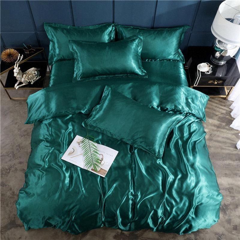 35 satin soie Literie Reine King Size Gris Vert Housse de couette Taie Solide Couleur Sets Feuille Plat Linge de lit oVoR #