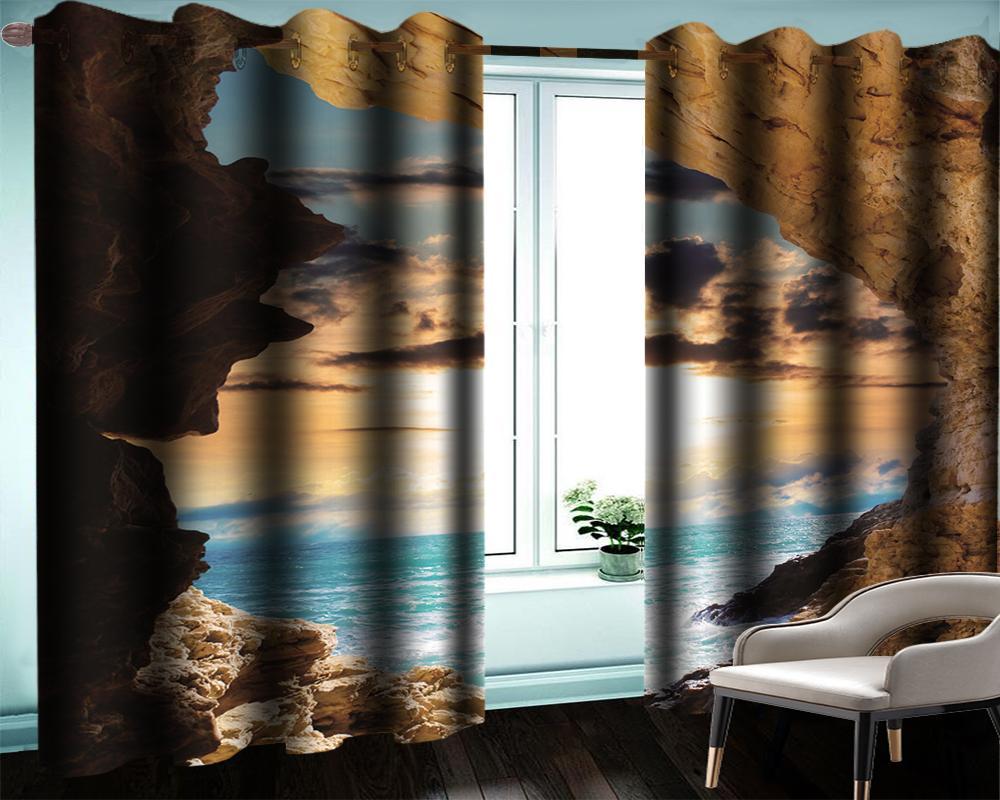 3d Современный занавес окна красивый вид на море за пределами пещеры Гостиная Спальня Кухня Окно Blackout Curtain