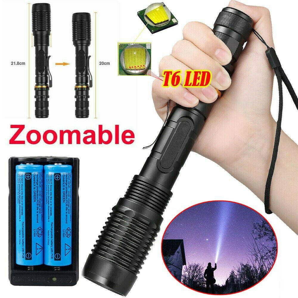 Bright 80000LM USB LED Flashlight Rechargeable Torches with Battery 3 Modes Lamp