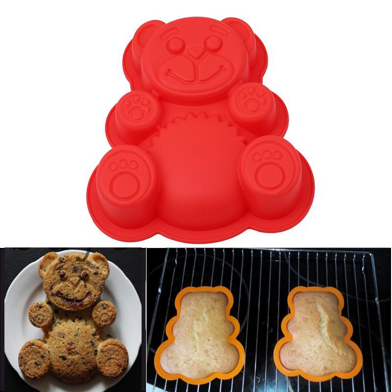 17 * 15,5 * 3 centímetros Forma Urso 3D Silicone Bolo Mold ferramentas de cozimento dos desenhos animados Bakeware fabricante de moldes Assadeira Bolo Mold Divina Chocolate