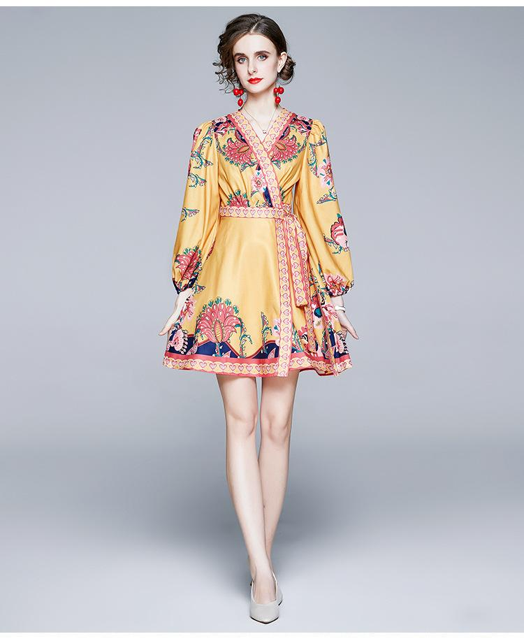 Новые тенденции Женские осень платье V шеи фонарь с длинным рукавом с Талия Пояса Mini A платья Lady causl платье