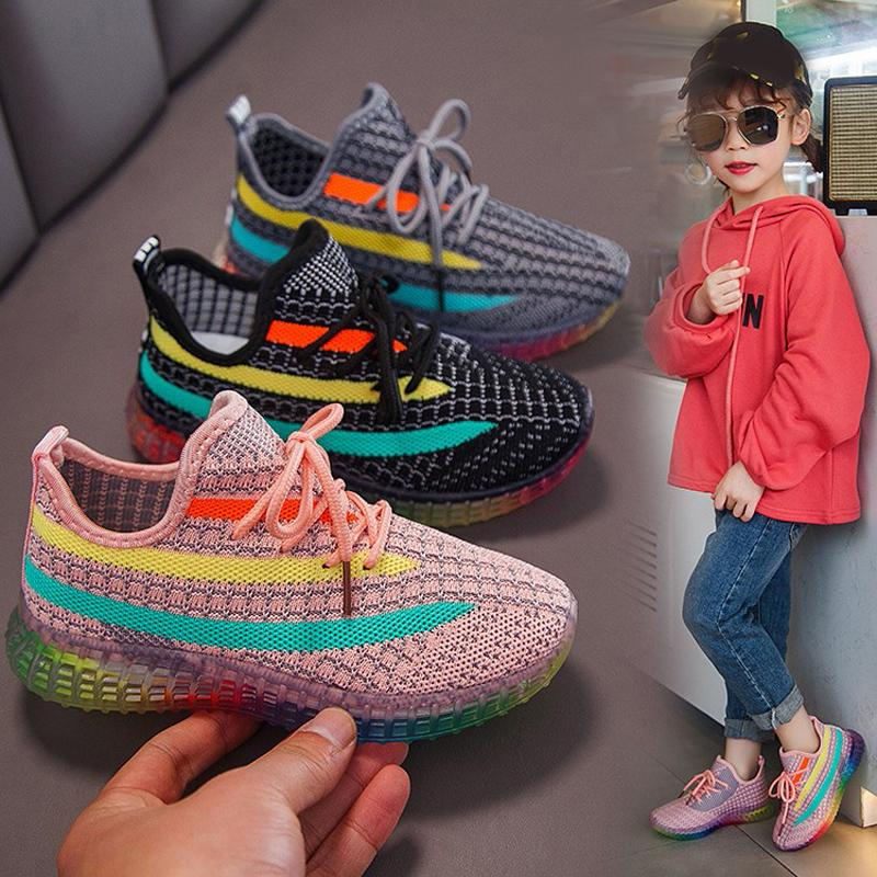 New Children Sport Shoe 2020 Spring Boys New Woven Breathable tennis Casual Dad Shoes Kids Shoes for Girl Toddler Sneakers