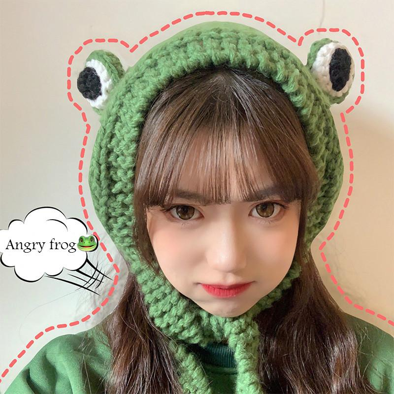 Frog Hat Beanies Knitted Winter Hat Hip-hop Skullies Knitted Cap Costume Accessory Gifts Warm Winter Lovely Christmas