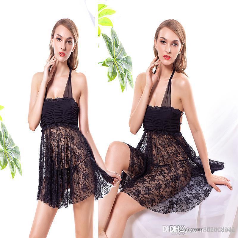 2019 estilo Popular Sexy lingerie europeu e americano de comércio exterior uniforme sedução rendas líquidas senhora adulto transparente pijama saia curta l