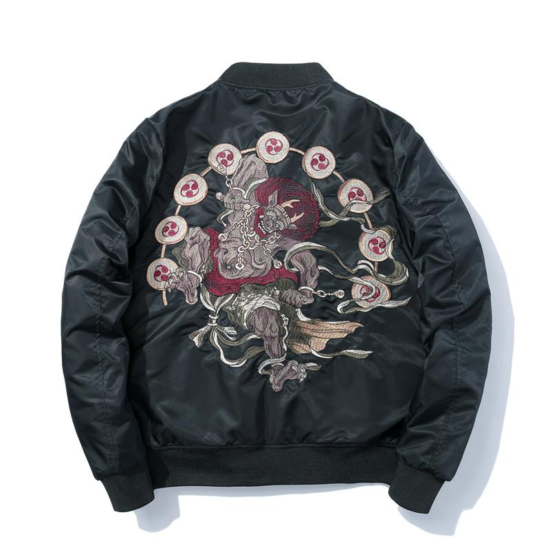 Januarysnow Art und Weise Neue Stickerei-Bomber-Jacken-Winter-warme Jacke Herren MA1 Pilot Bomberjacke Mann gestickte AutumnThin Coats Hot Sale