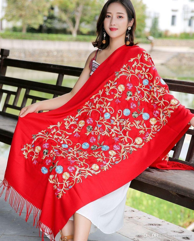 120 a colori cinesi ricamo Upscal oversize sciarpe della sciarpa scialle di stampa femminile 2018 Hot Resort Sciarpe Teli protezione solare doppio uso Scialle