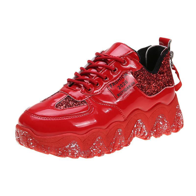 2020Women Flach Glitter Turnschuhe beiläufige Bling Schuhe weiblichen Ineinander greifen Plattform Comfort Fashion Damen