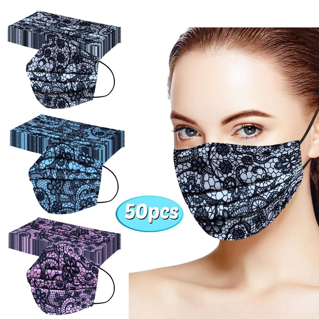 50PCS 디자이너 레이스 일회용 얼굴 마스크 성인 마스크는 마스크 여름 Mascarilla 드 Encaje 마스카라 보카 보호 얼굴 커버 컬러 인쇄