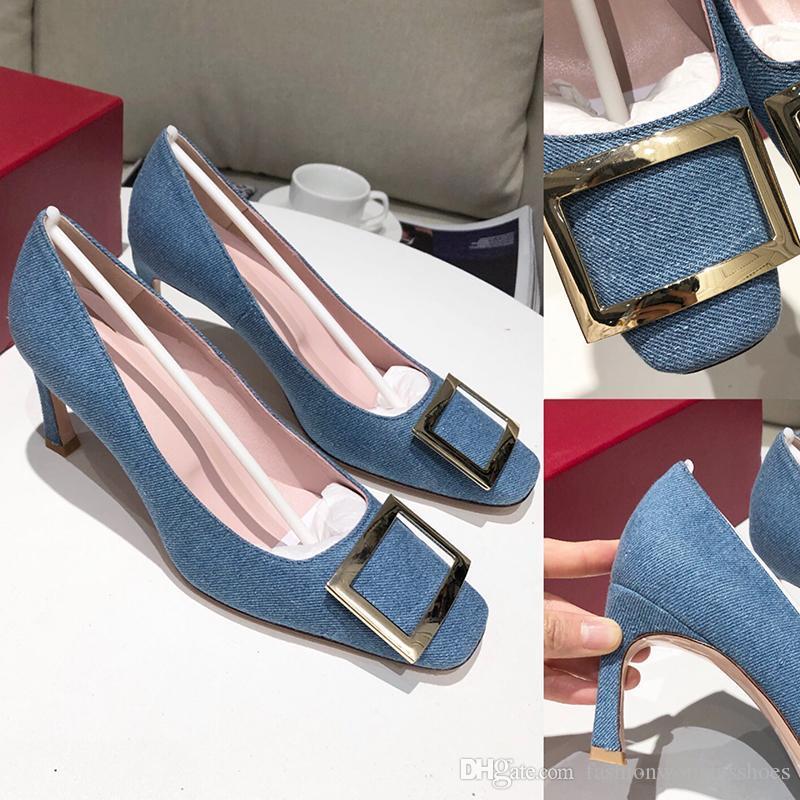 2020 sapatos de alta qualidade Nova Forma Mulheres Salto Alto 7cm com lantejoulas Hi-Q Suave Azul Denim Praça Buckle de couro Soles Escritório Shoes