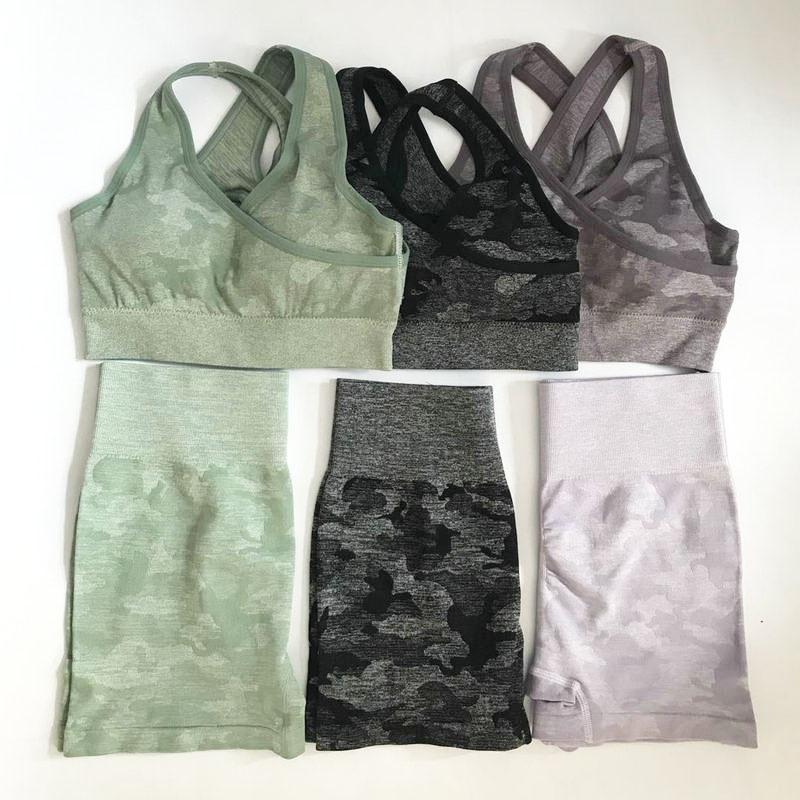 2PCS Camo Set Yoga Abbigliamento sportivo per le donne di ginnastica abbigliamento fitness bottino Pantaloncini Yoga in corso a vita alta + Sport Bra GYM vestito di sport