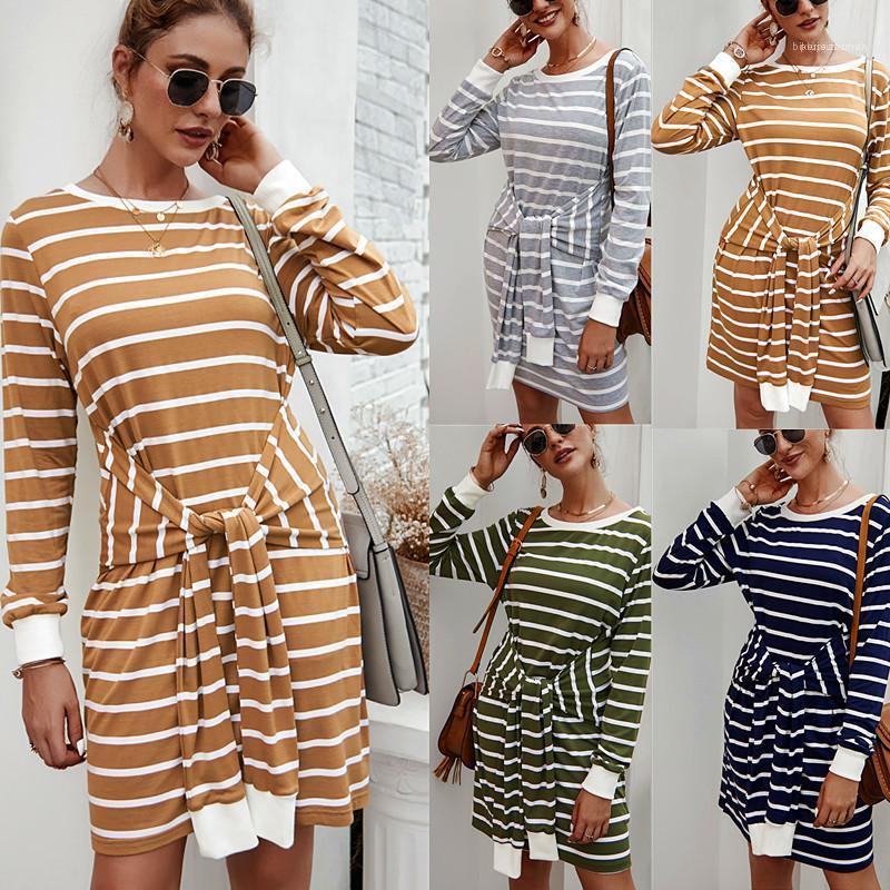 Style de Vêtements pour femmes Automne dames Designer Robe à rayures imprimé tricot à manches longues Bracelet conception Une robe ligne OL