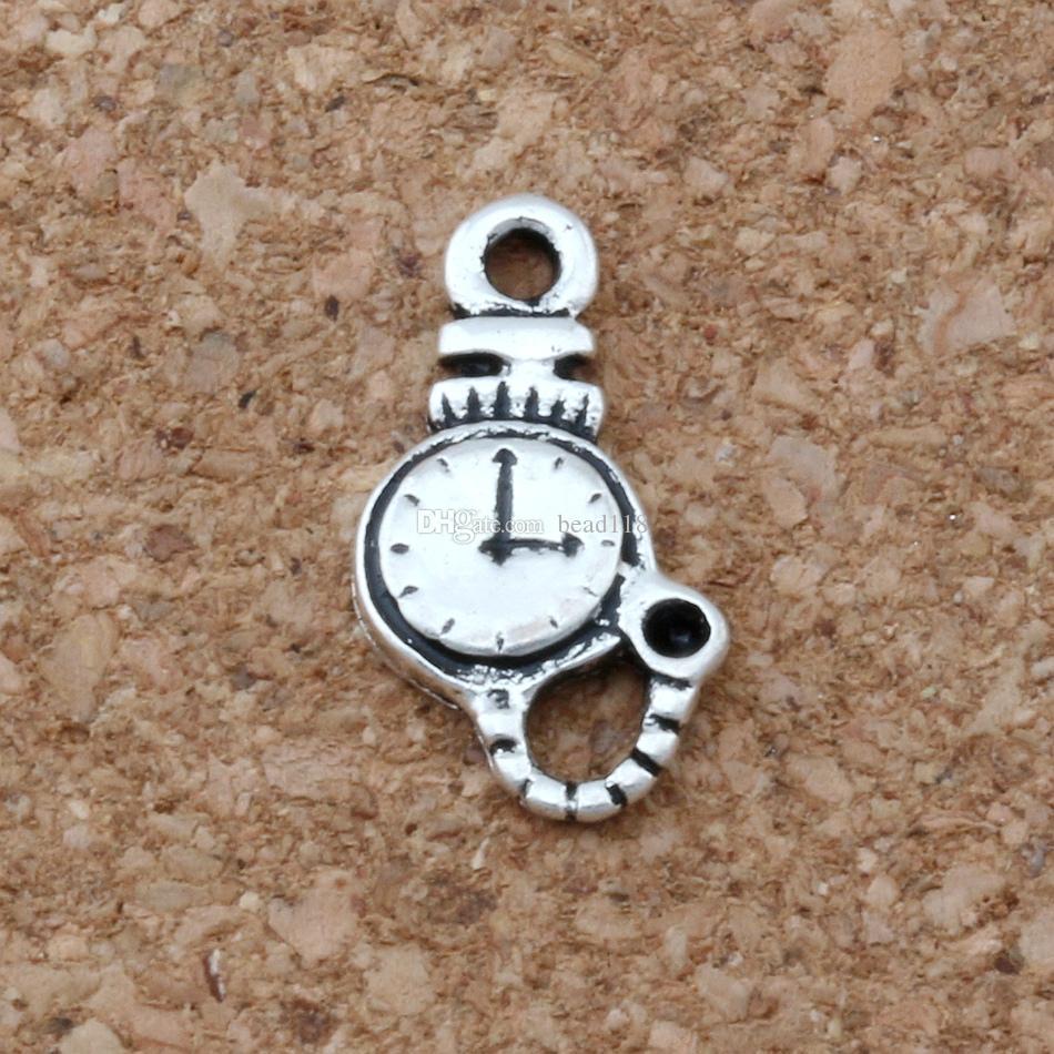 Caliente ! 500pcs encantos de plata antigua del reloj de aleación de zinc de una cara colgante de joyería al 9 * 16mm joyería de bricolaje A-076