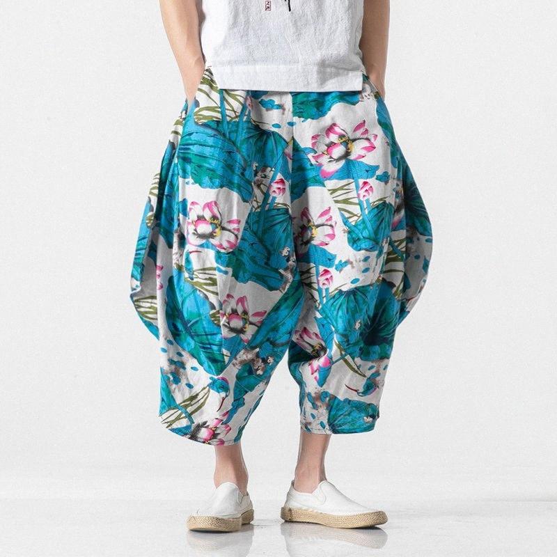 Plaj Çapraz Baggy Pantolon Erkekler Streetwear Gevşek Çiçek Pantolon Broek Heren Çok Renkli Artı boyutu 5XL 2020 Yaz Hip Hop MCyW #
