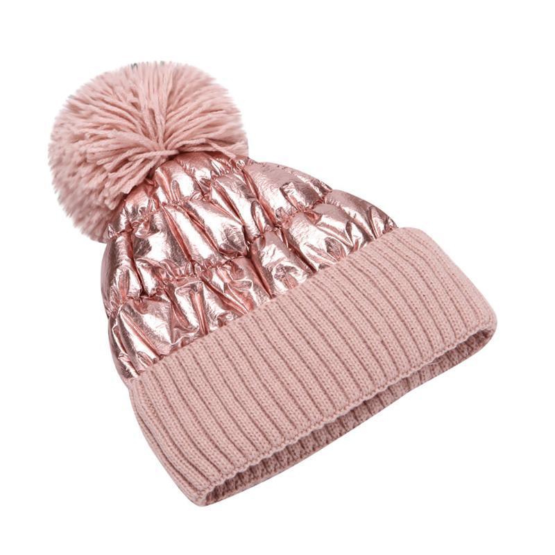 2020 Winter-Hüte für Frauen Thick Bling gestrickte Mützen Hut-Mädchen-Herbst-Female Hairball-Rosa White Caps Warmer Bonnet Gelegenheits Cap