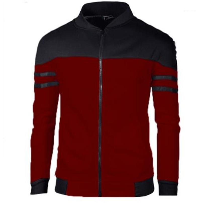 Одежда Luxury Мужская Верхняя одежда нашивки печати пальто плюс размер Осень Zipper Вертикальная Воротник Чистый хлопок Contrast Цвет куртки Мужской