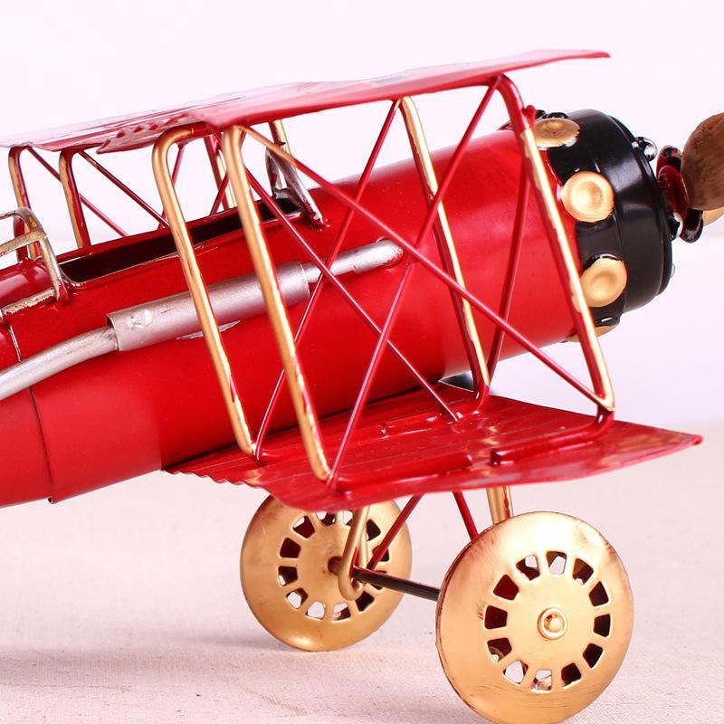 2020Hot del metallo dell'annata piano casa ornamenti modello dei velivoli giocattoli per i bambini aeroplano in miniatura modelli retrò decorazione domestica creativa