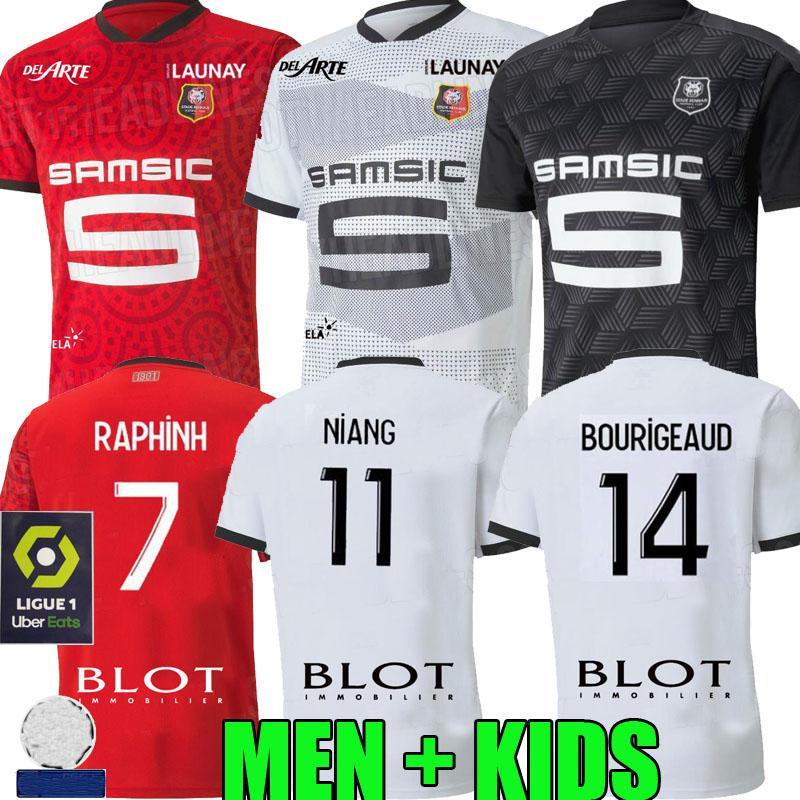 Rennes 20 21 Stade Rennais FC Maillots de football troisième Niang BOURIGEAUD Terrier 2020 2021 de pied maillot manches courtes Chemises de football Raphinha homme kit pour enfants
