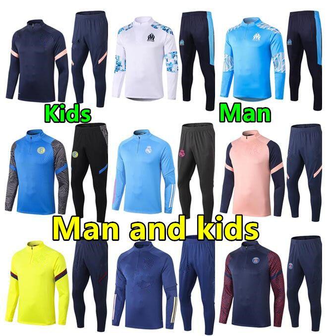 2020 2021 رجل و أطفال بدلة تدريب كرة القدم Soccer Tracksuit 20 21 Kids Football Tracksuit Survetement Chandal الركض