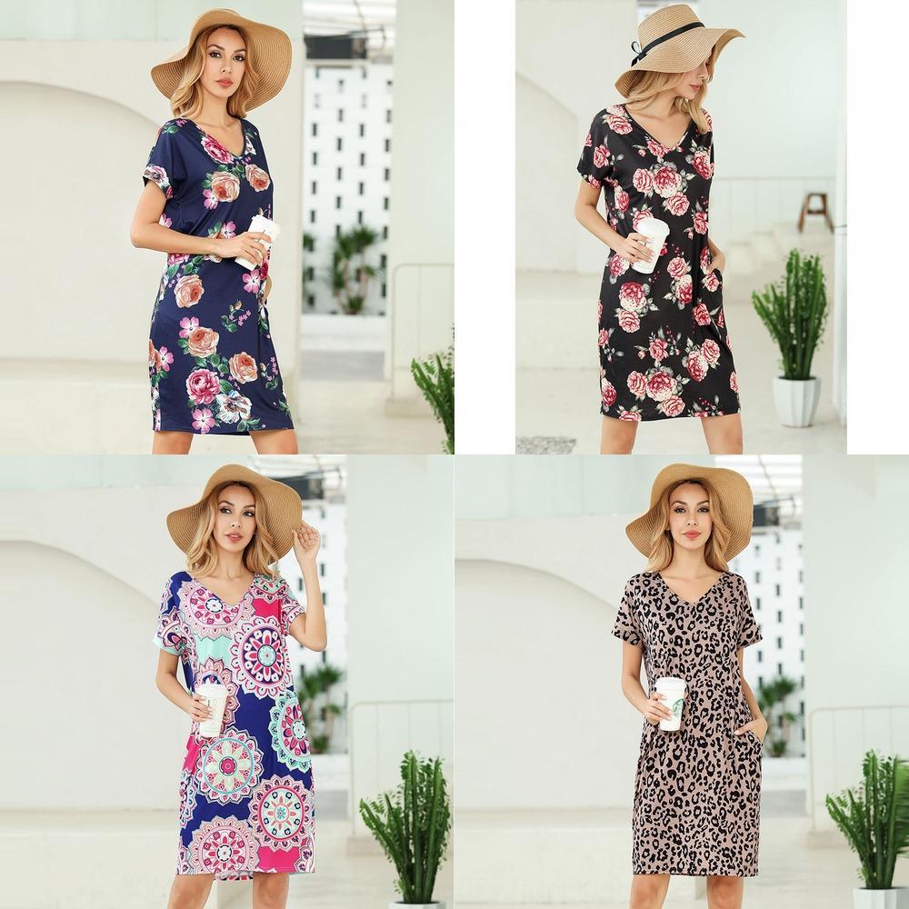 2020 printemps et l'été t-shirt à manches courtes nouvelle imprimé robe T-shirt col V poche Z5URs robe léopard