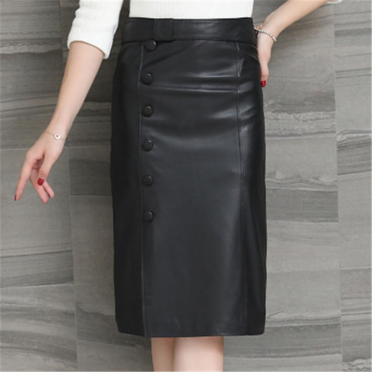 2020 mujeres de moda chaqueta de cuero de oveja real genuina H68