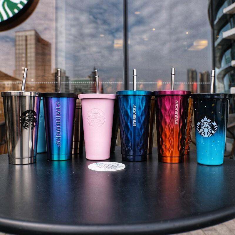 500 مل كوب ستاربكس مع القش والشفة الفولاذ المقاوم للصدأ بهلوان أكواب مزدوجة الجدار فراغ معزول كأس
