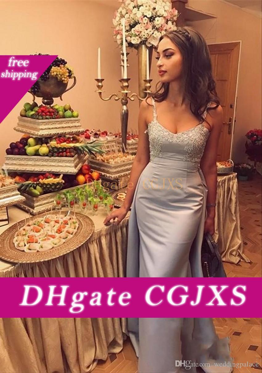 Последние горничной честь невесты платья спагетти ремень аппликациями Русалка свадебное платье для гостей с поездом атласная невесты Платья