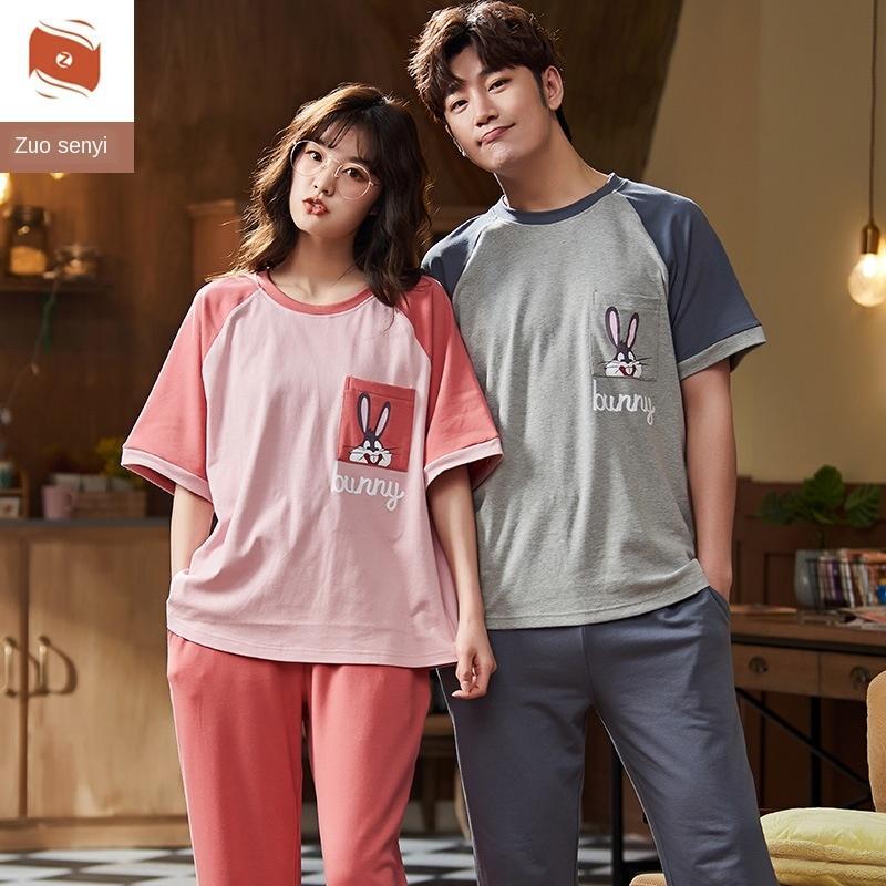 AhxQa hTQmu Пара хлопка мягкие пижамы стиль стиль лето пара хлопок одежды Корейский 2020 с коротким рукавом женская летняя тонких мужчин домой в год