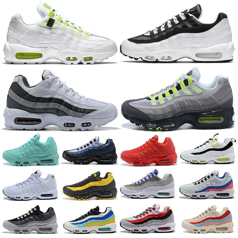 حذاء رياضي رجالي 95 95s للركض في جميع أنحاء العالم حزمة Yin Yang ثلاثي أسود وأبيض نيون منصة خارجية للرجال والنساء أحذية رياضية 36-45