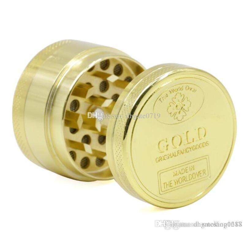 Barato oro al por mayor color de la amoladora 3 partes 40mm / 50mm 2 estilos CNC molino de fumar tabaco secas amoladoras para molinos de hierbas DHL ENVÍO GRATIS