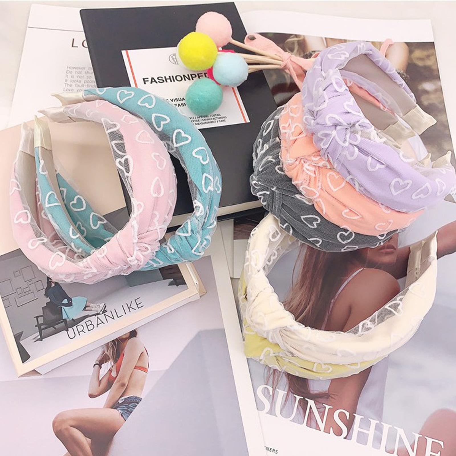 Le donne Hairband nuovo modo morbido pizzo fascia Amore Headwear capelli molli del cerchio per adulti Centro Knot Accessori per capelli Turbante