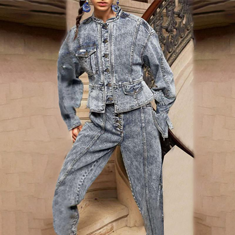 Real Picture Jeans Donne Set Set Denim Two Piece Outfits Vintage Lady V-Neck Sleeve Sleeved Manica Single-Breasted Cappotti Set di jeans a vita alta